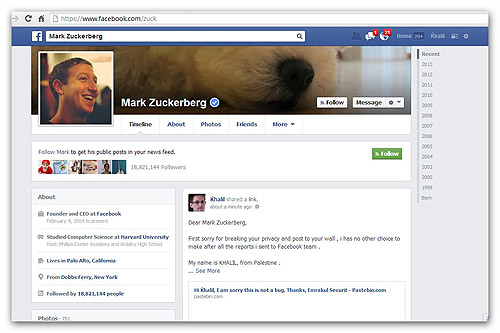 Zuckerberg page hacked