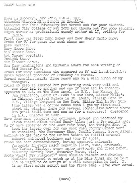 woody allen s resume from 1965 daily press
