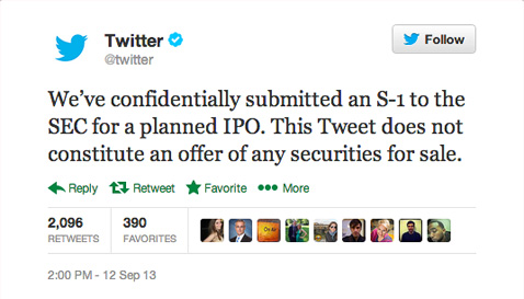 Twitter IPO announcement